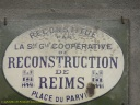 Plaque de reconstruction à Reims